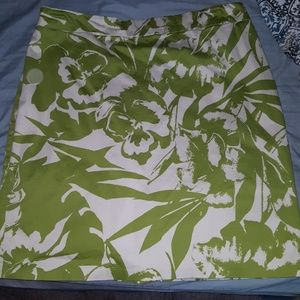Green and white skirt